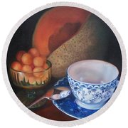 Blue And White Teacup And Melon Round Beach Towel