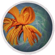 Blue And Yellow #h6 Round Beach Towel