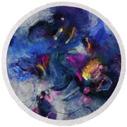 Round Beach Towel featuring the painting Blue And Yellow Minimalist / Abstract Painting by Ayse Deniz