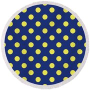 Round Beach Towel featuring the mixed media Blue And Yellow Polka Dots- Art By Linda Woods by Linda Woods