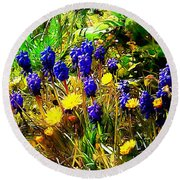Blue And Yellow Wild Flower Medley Round Beach Towel