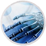 Blue Android Hand Round Beach Towel