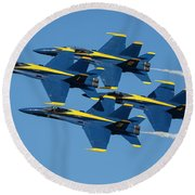 Round Beach Towel featuring the photograph Blue Angels Diamond Formation by Adam Romanowicz