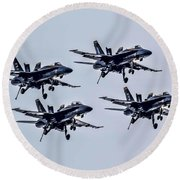 Blue Angels Exhibition Round Beach Towel by Pat Cook