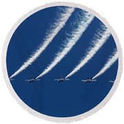 Blue Angels Formation Round Beach Towel by John A Rodriguez