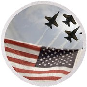 Round Beach Towel featuring the photograph Blue Angels Soars Over Old Glory As They Perform The Delta Formation by Celestial Images
