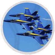 Blue Angels Very Close Formation 1 Round Beach Towel