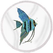 Blue Anglefish Round Beach Towel