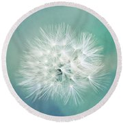 Round Beach Towel featuring the photograph Blue Awakening by Trish Mistric