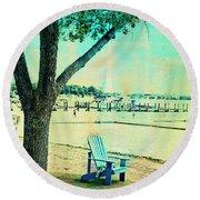 Round Beach Towel featuring the photograph Blue Beach Chair by Susan Stone