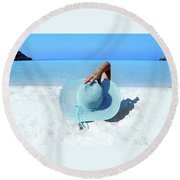 Blue Beach Round Beach Towel
