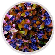 Blue Berries Round Beach Towel