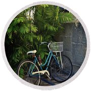 Blue Bike-  By Linda Woods Round Beach Towel