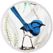 Round Beach Towel featuring the photograph Blue Bird 001 by Kevin Chippindall