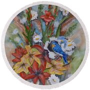 Round Beach Towel featuring the painting Blue Bird Eats Thru The Painting by Kelly Mills