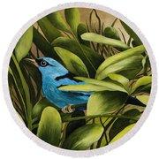 Blue Bird In Branson Round Beach Towel
