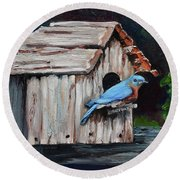 Blue Bird On Lake Odom Round Beach Towel by Jan Dappen