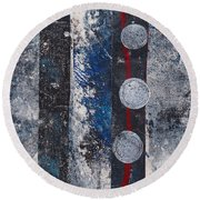 Blue Black Collage Round Beach Towel