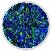Blue Blades Of Grass Round Beach Towel