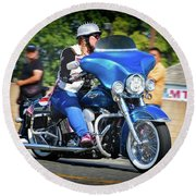 Blue Bling Rider Round Beach Towel