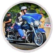 Blue Bling Rider Round Beach Towel