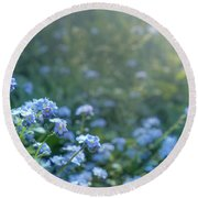 Blue Blooms Round Beach Towel