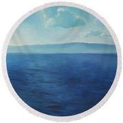 Blue Blue Sky Over The Sea  Round Beach Towel