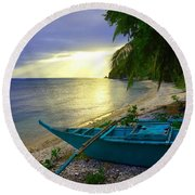 Blue Boat And Sunset On Beach Round Beach Towel