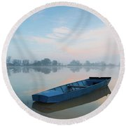Round Beach Towel featuring the photograph Blue Boat by Davor Zerjav
