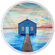 Blue Boat Shed By The Swan River Perth Round Beach Towel