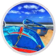 Blue Boats Round Beach Towel