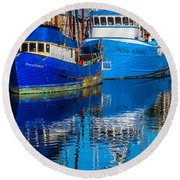 Blue Boats Reflection Round Beach Towel