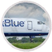 Round Beach Towel featuring the photograph Blue Bonnet by Guy Whiteley