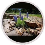 Blue Bonnets On The Rocks Round Beach Towel