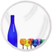 Blue Bottle #2429 Round Beach Towel