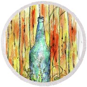 Round Beach Towel featuring the painting Blue Bottle by Cathie Richardson