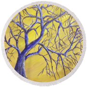 Branches Of Blue Round Beach Towel by T Fry-Green