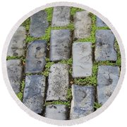 Blue Bricks 2 Round Beach Towel