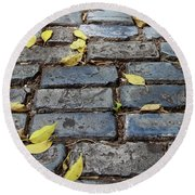 Blue Bricks With Yellow 2 Round Beach Towel