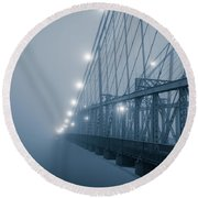 Blue Bridge To No Where Round Beach Towel
