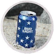 Blue Bud Light Round Beach Towel