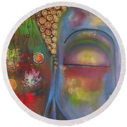 Buddha In Blue Meditating  Round Beach Towel