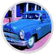Blue Buick Round Beach Towel