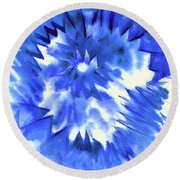 Blue Burst Round Beach Towel