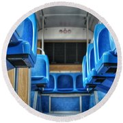 Blue Bus Seats Round Beach Towel