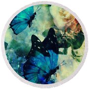 Blue Butterfies Round Beach Towel by Maria Urso
