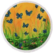 Blue Butterflies In Early Morning Garden Round Beach Towel