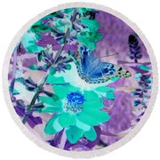 Blue Butterfly And Teal Flowers Round Beach Towel
