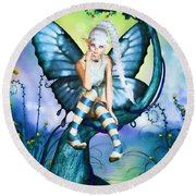 Blue Butterfly Fairy In A Tree Round Beach Towel
