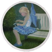 Blue Butterfly Girl Round Beach Towel